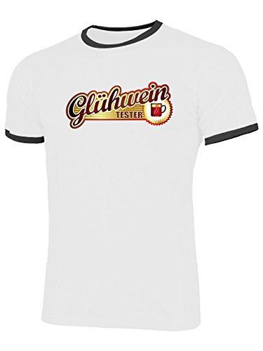 Glühwein Tester 4553 Herren Ringer T-Shirt (HR=Weiss/Schwarz) Gr. XL