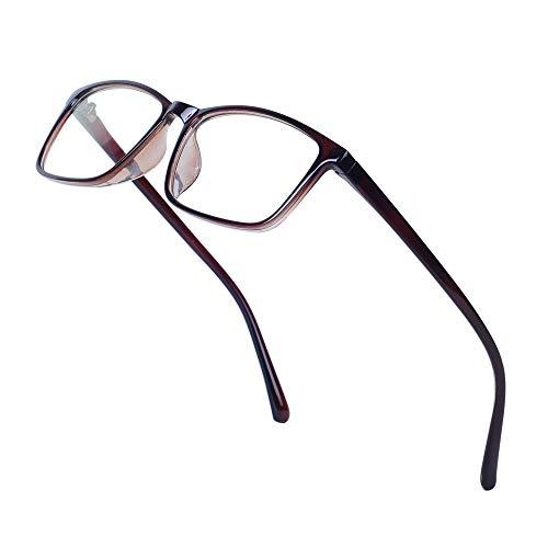 JoXiGo Nerd Brille Damen Herren Ohne Stärke Rechteckig Rahmen Klar Linse Brillenfassung mit Etui - Schwarz Braun