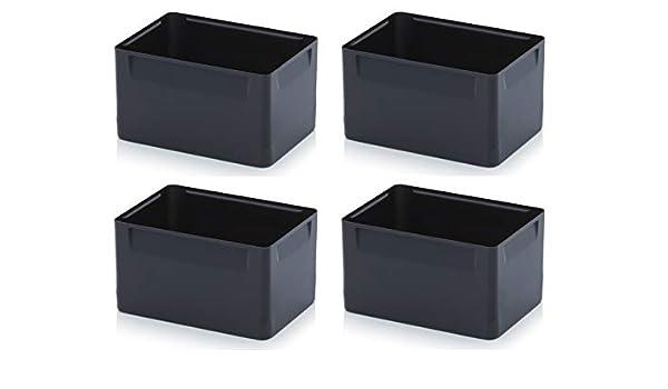 Einsatzk/ästen 4er Set 5cm H/öhe f/ür Auer Eurobeh/älter 60x40 Einsatz K/ästen Eins/ätze schwarz