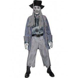 e-Geisterpirat Kostüm, Jacke, Hemd, Hose, Hut mit Dreadlocks, Maske und Handschuhe, Größe: M, 34118 (Grey Ghost Kostüm)