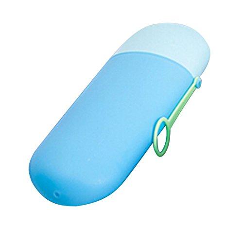 La cubierta del sostenedor del organizador del recorrido que acampa práctica del baño Cepillo de dientes Pasta de dientes Proteja Copa caja de la caja de agua azul claro y azul