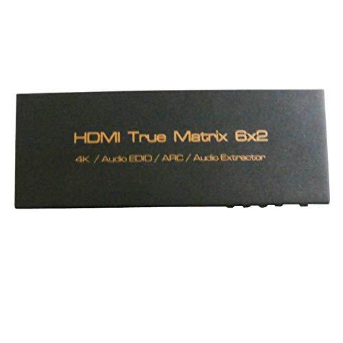 REFURBISHHOUSE 4Kx2K Hdmi 6X2 3D HDTV Hd Wahr Matrix 2.0 Hdmi Switch Splitter Unterstützung Mit Ir Arc Spdif 3.5 Mm 6 In 2 Aus Hdmi Audio Extraktor (EU Stecker) 6 Audio-splitter