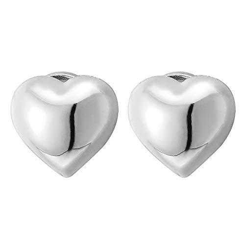 Magnetische Puff Herz Ohrringe Damen Mädchen, Click-on Ohrstecker Fakeplugs Tunnel Gauges, Poliert (Ohrringe Für Magnetische Mädchen)