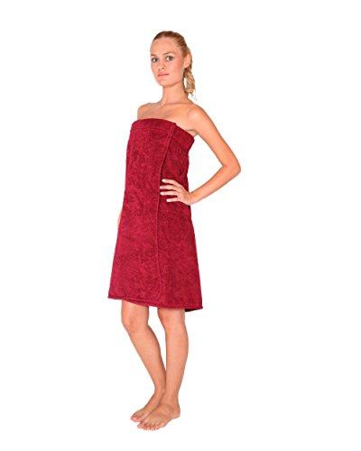 Saunakilt für Damen, 100% BIO-Baumwolle-Frottee, knielang, mit Gummizug und Klettverschluss