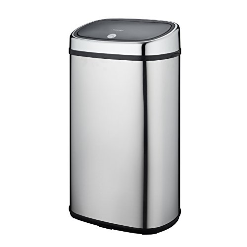 Kitchen Move CITY Push One-Touch Semi-Automatique Poubelle de Cuisine Forme Carré Chrome 60L, Acier Inoxydable, Inox, 39,5 x 28 x 67 cm