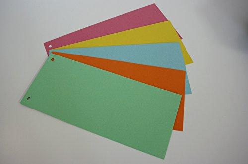 Preisvergleich Produktbild Trennstreifen für Ordner, insgesamt 500 Stück, fünf verschiedenfarbige Pakete à 100 Blatt, Farben: grün, orange, blau, gelb und rosa, Format: 24 x 10,5 cm, 2-fach Abheftlochung linksseitig, zum Trennen von Dokumenten, Zwischenblätter, Zwischenstreifen (1 x 5 Pakete)
