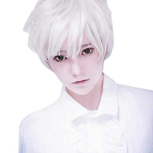 TIREOW Mode Erwachsene Männer Guy Short Perücke Boy Band Perücken Weiß Kurz Perfekt für Karneval Party - Boy Perücke