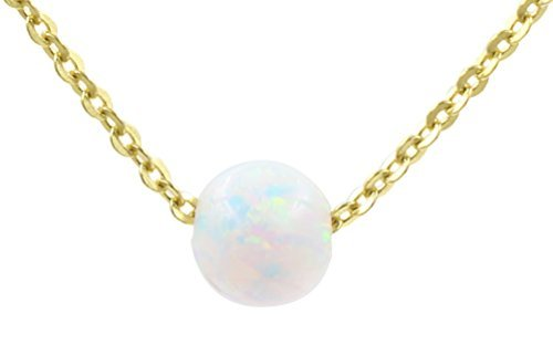925Sterling Silber Gold Kette klein Simulierte Weiß Opal Anhänger Halskette, - Und Gold Opal