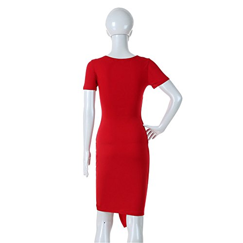 JOTHIN Damen V-ausschnitt Bodycon Festkleid Einfarbige Sommerkleid Knielang Etuikleider Bleistiftkleid Casual Kleid Rot