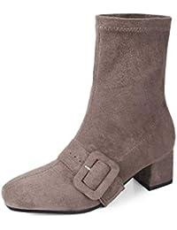 f6068426537c12 HOESCZS 2019 Frauen Mittlere Waden Stiefel Mode Frauen Schuhe Plattform  Winter Stiefel Platz Ferse Kausalen Frauen Stiefel Große Größe…