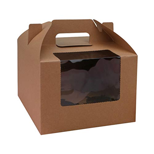 Cupcake Box, Cupcake Muffin Box für 4 Kuchen, Dessert-Papierbehälter mit Einsatzfenster Backkuchenträger für den Dessert-Laden zu Hause,10 Stück (Kraft)