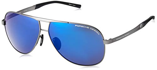 Occhiali da sole porsche design p'8657 ruthenium/blue uomo