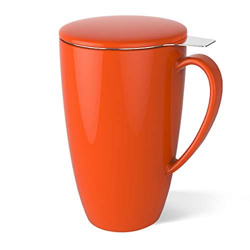 Sweese 2105 Tasse à thé en Porcelaine avec infuseur en Acier Inoxydable + Couvercle 400ml - Orang