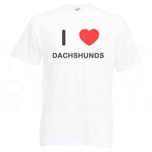 I Love Dachshunds - T-Shirt Weiß