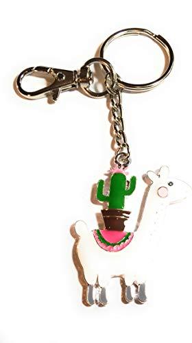 FizzyButton Gifts Emaille Lama Alpaka mit Charme Schlüsselanhänger Kaktus Handtasche -