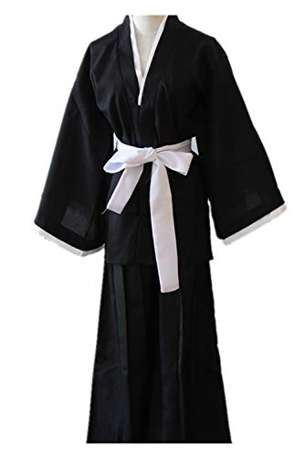 RedJade Anime Bleach Kuchiki Rukia Cosplay Kostüm Japanese Kimono Outfit Black Damen (Bleach Cosplay Kostüm)