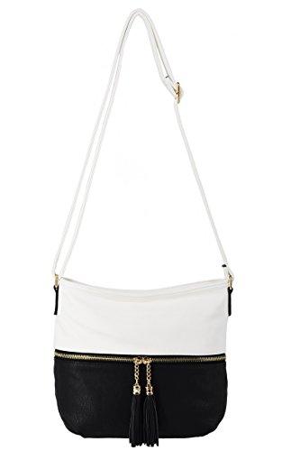 CRAZYCHIC - Damen Umhängetasche mit Fronttasche und Pompon - Weiches Leder imitat - Handtasche - Praktische Hobo Tasche - Schultertasche - Weiß (Große Handtasche Weiche Hobo)