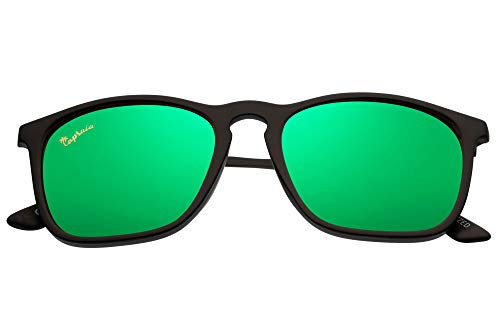 Capraia Avarengo Sporty Rectangular Sunglasses Ultra Light High Quality TR90 Matt Black Frame and Green Mirrored Polarised Lenses UV400 protected Mens