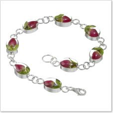 Shrieking Violet: Damen-Armband - mini Rosenblüte - oval - 925 Sterling Silber - 180 mm