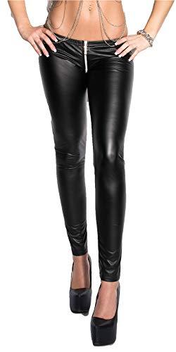 krautwear Damen Leggings Sexy Wetlook Leggin mit Zweiwege Reißverschluss im Schritt (Zipper) Ouvert Low Waist Skinny Gogo Clubwear Party (S/M)