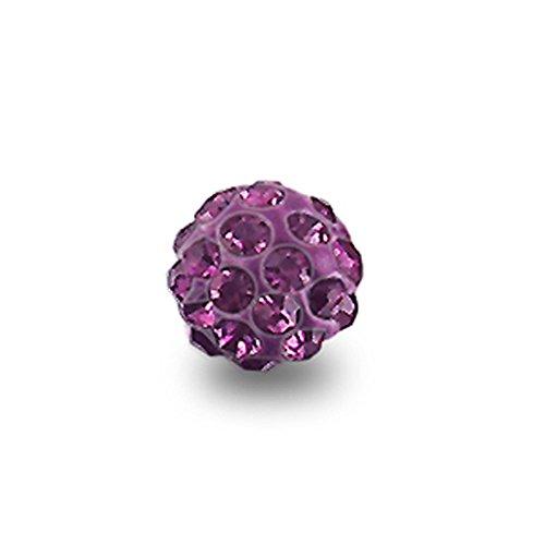Pierres Multi Preciosa en Cristal 6MM serties sur Colle Ferido taillé pour 14G(1.6MM) Purple