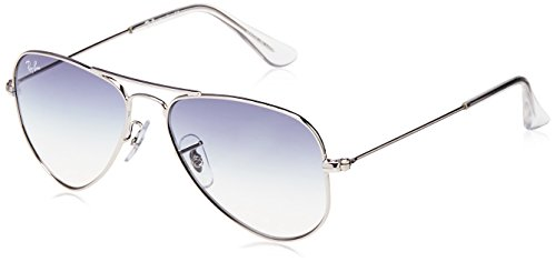RAYBAN JUNIOR Unisex-Kinder Sonnenbrille Aviator Junior, Silver/Cleargradientlightblue, 52