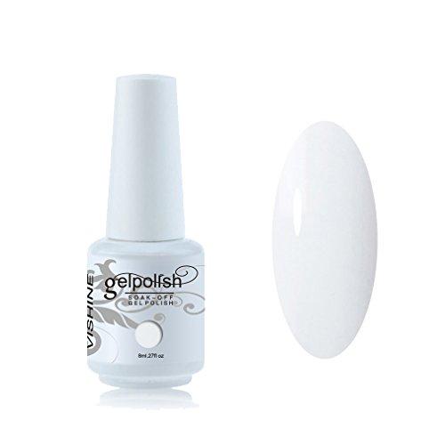 Vishine 8ml Vernis à Ongles Gel Semi Permanent UV LED aux 298 Couleurs Divers pour Nail Art Manucures Blanc #020
