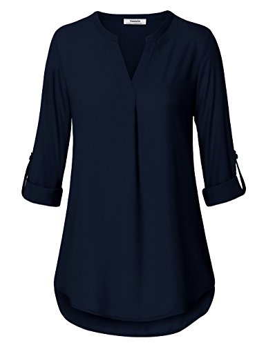 Damen Tunika Blusen,Youtalia Damen Chiffon Long Armlänge Top V-Ausschnitt Mit Falten Freizeit Shirts Tiefblau Größe XXL