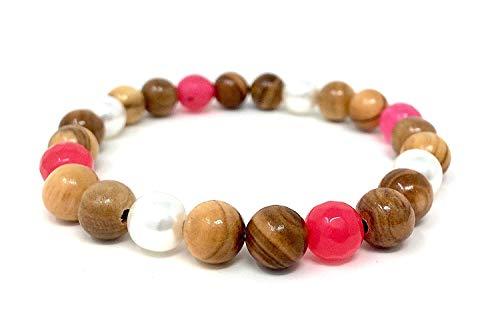 Armband aus echten Olivenholzperlen mit weißen und rosa Schmuckperlen - handgefertigt in Spanien - Holzschmuck - Schmuck auch für Mädchen geeignet - auch als Fußkettchen tragbar