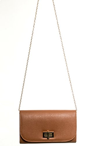 Gadzo® Clutch Handtasche Umschlag elegant Umhängetasche Look CLUN02 Braun