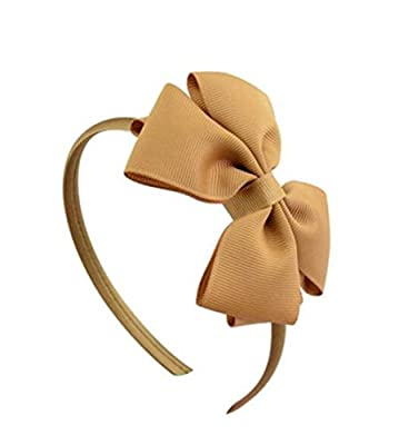 Whyyudan Beautiful Hair Decoration Gift Fashion Hairband Double Layer Bow Tie Headband for Children's Hair Decorations (Camel)