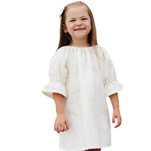 Babybekleidung Babykleider Rosennie Festlich Baby Mädchen Kleider Hochzeit Prinzessin Kleider Partykleid Blumen Spitzenkleid Country Kleider Outfits Herbst Langram Shirt Blumenkleid (Weiß)