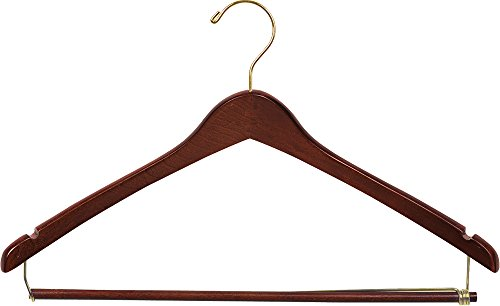 The Great American Hanger Company Wooden Suit Hangers with Locking Pant Bar, Walnut/Brass Finish, Box of 50 by The Great American Hanger Company
