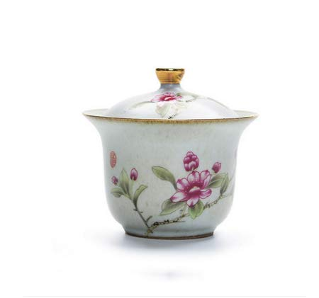 DXXMD Ceramic Cover Bowl Imitation Hand-Painted Quaint Magnolia Tea Bowl Three Talent Cover Bowl Jing Tea Cup Tea Ceremony Accessories Flowers Like Flowers Magnolia Flower Bowl