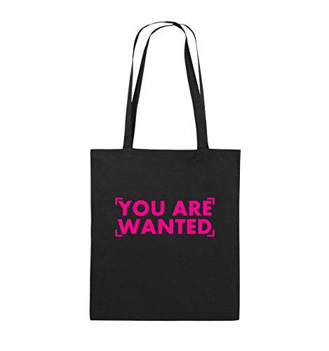 Comedy Bags - YOU ARE WANTED - LOGO - Jutebeutel - lange Henkel - 38x42cm - Farbe: Schwarz / Silber Schwarz / Pink