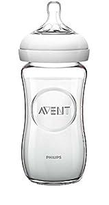 cristal: Philips Avent SCF673/17 - Biberón de cristal natural, 240 ml con tetina de flujo...