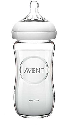 Philips Avent SCF673/17 Biberon Natural Anticoliche per Allattare in Modo Naturale, Vetro, 240 ml