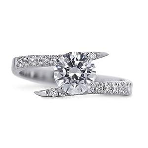 Damen-Ehering Weißgold 14 Karat (750) Diamant Rundschliff 1,40 Karat