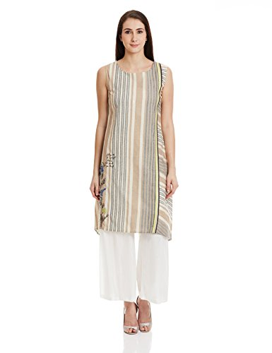 W for Woman Straight Kurta (15FE15047-56313_BROWN_10)  available at amazon for Rs.679