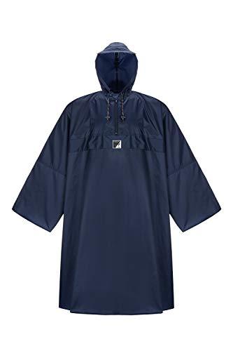 HOCK Regenponcho 'Wetter AS Klima' mit Langen Ärmeln - Der Atmungsaktive Outdoor Poncho für Damen und Herren - Regencape mit weitem Schnitt für's Wandern mit Rucksack - Blau - L