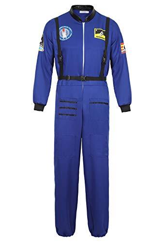 Kranchungel Mens Astronaut Kostüm Spaceman Suit Jumpsuit Halloween Kostüme für Erwachsene Blau - Spaceman Kostüm Für Erwachsene
