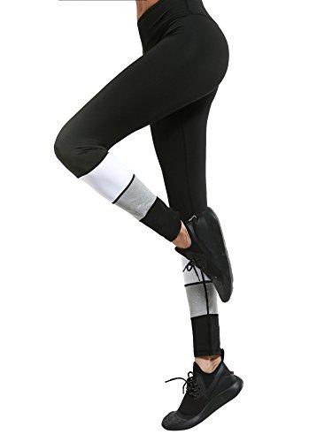 SOLYHUX Femme pantalon sport Leggings de Sport Elasticite Couleur Patchwork taille haute pour Yoga Jogging Gym Respirant Skinny Multicouleur 1 Multicouleur 1