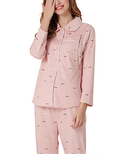 (CWXDIAN Schwangere Frauen Pyjamas Home-Service langärmelige Sommermonate Kleidung aus der postpartalen Stillen Anzug gesetzt, blass rosa, L)