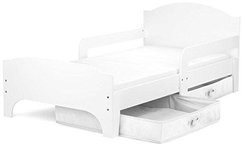 Leomark Kinderbett mit Schubladen für Bettwäsche und Matratze 140 x 70 Weiße Farbe /Weiße schublade/