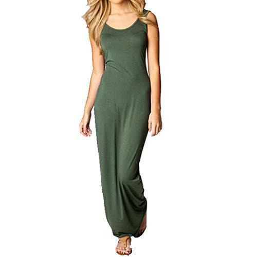 mellose Rundhalsausschnitt Lange Maxi Slim Fit figurbetonten Tank Weste Spalte Kleid (Farbe : Grün, Size : S) ()