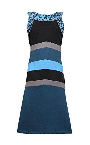 Estate senza maniche girocollo Dress Patch delle donne e progettazione di stampa Blu
