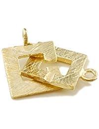925/ Silber, vergoldet, Designerschließe - gebürstet, quadratisch, 12 mm