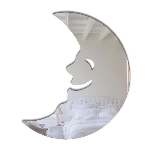 Mungai Mirrors - Specchio in vetro acrilico a forma di mezza luna, 45 cm