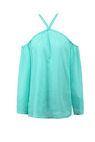 Manches longues dos nu lâche T-shirt mousseline blouses pour femmes blue