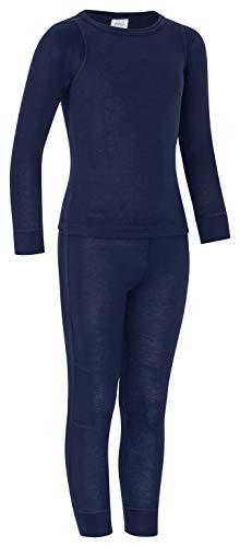 icefeld® - atmungsaktives Thermo-Unterwäsche Set für Kinder - warme Wäsche aus langärmligem Oberteil + Langer Unterhose: schwarz in Größe 146/152